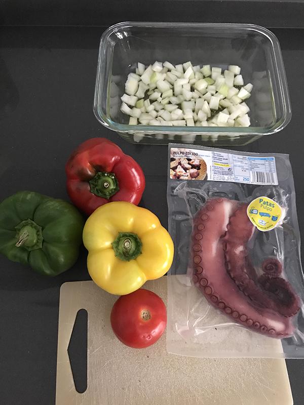 Ingredientes ensalada pulpo