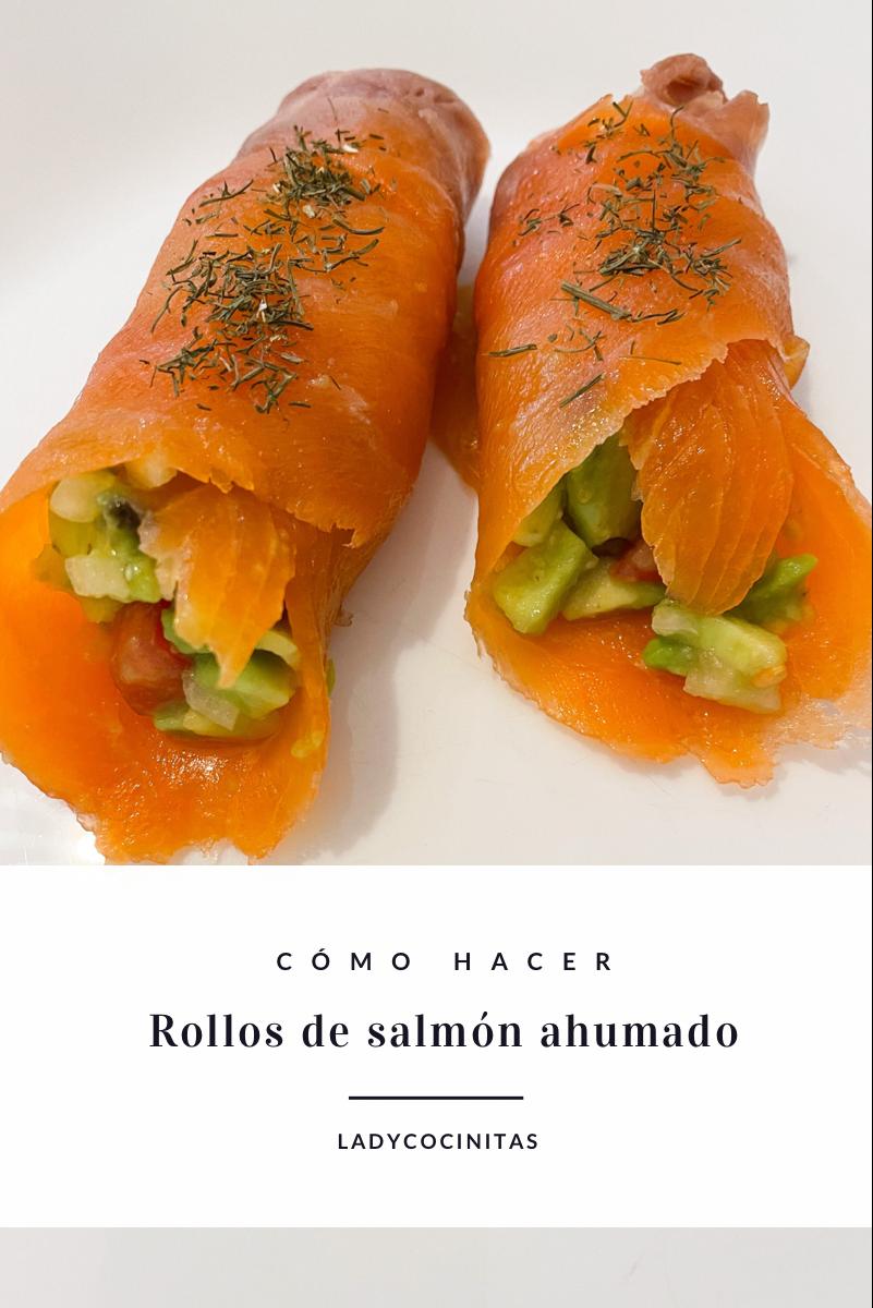 Rollos de salmón y aguacate