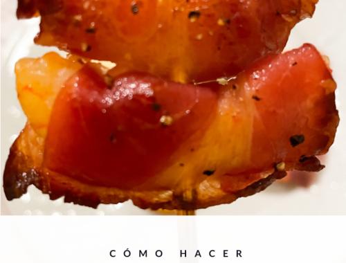 Brocheta de langostinos y bacon