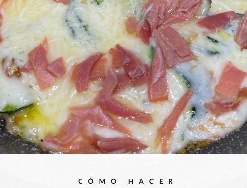 Sartenada de calabacin con queso y jamón